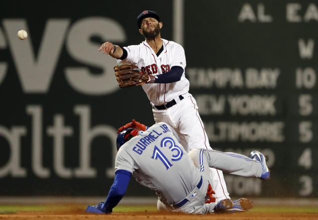 Boston Red Sox second baseman Dustin Pedroia throws to first after forcing out Toronto Blue Jays' Lourdes Gurriel Jr. during the third inning of a baseball game Thursday, April 11, 2019, at Fenway Park in Boston. Socrates Brito was safe at first. (AP Photo/Winslow Townson)