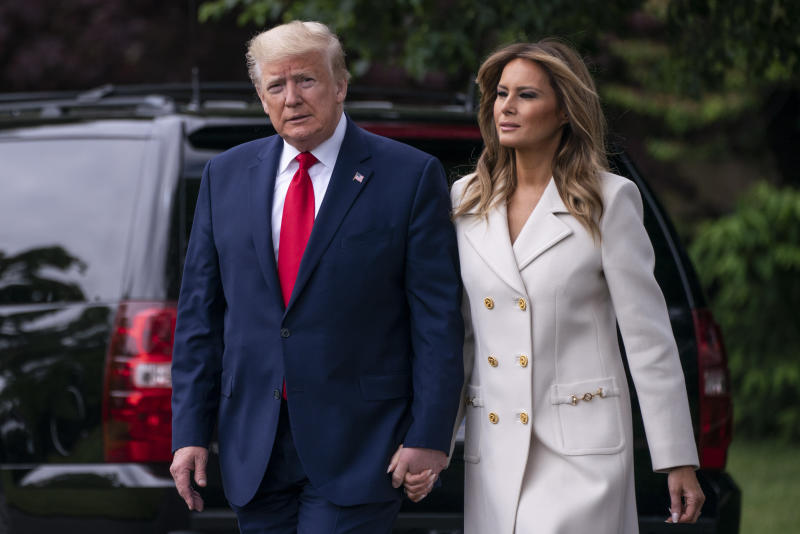 """WASHINGTON, DC - MAY 25: U.S. President Donald Trump and first lady Melania Trump depart the White House for Baltimore, Maryland on May 25, 2020 in Washington, DC. The Trumps will attend a Memorial Day ceremony at the Fort McHenry National Monument and Historic Shrine despite objections by Baltimore Mayor Bernard C. """"Jack"""" Young, whose residents remain under a stay-at-home order due to the coronavirus. (Photo by Sarah Silbiger/Getty Images)"""