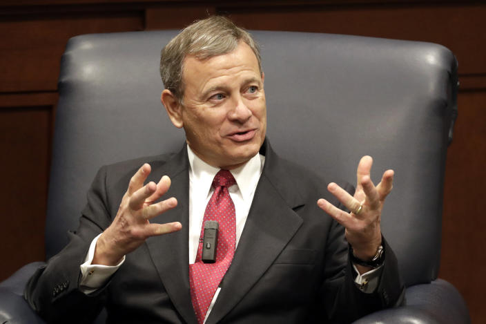 Supreme Court Chief Justice John Roberts. (AP Photo/Mark Humphrey)