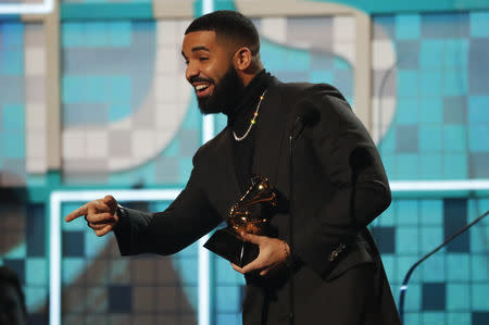 "61st Grammy Awards - Show - Los Angeles, California, U.S., February 10, 2019 - Drake wins Best Rap Song for ""God's Plan"". REUTERS/Mike Blake"
