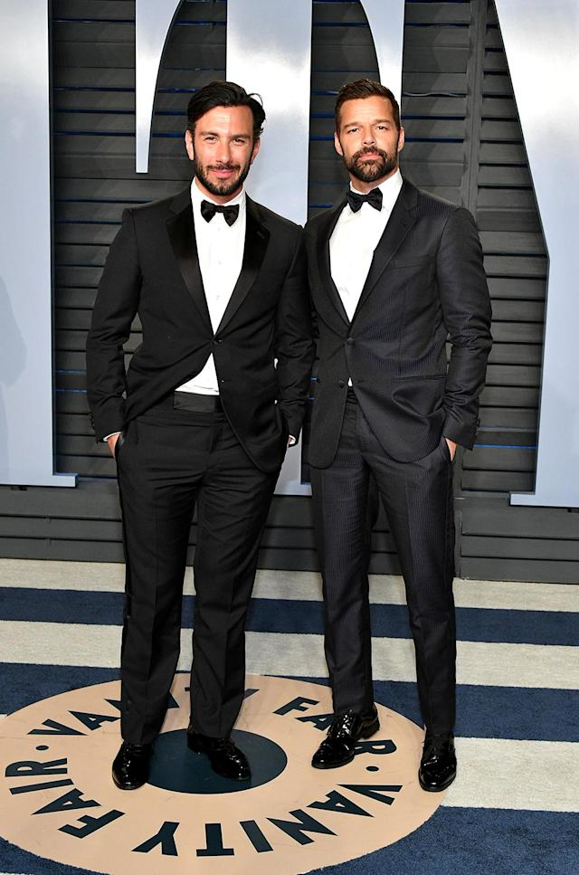 <p>Best coordinated couple of the night goes to Ricky Martin and his husband, artist Jwan Yosef. (Photo: Dia Dipasupil/Getty Images) </p>