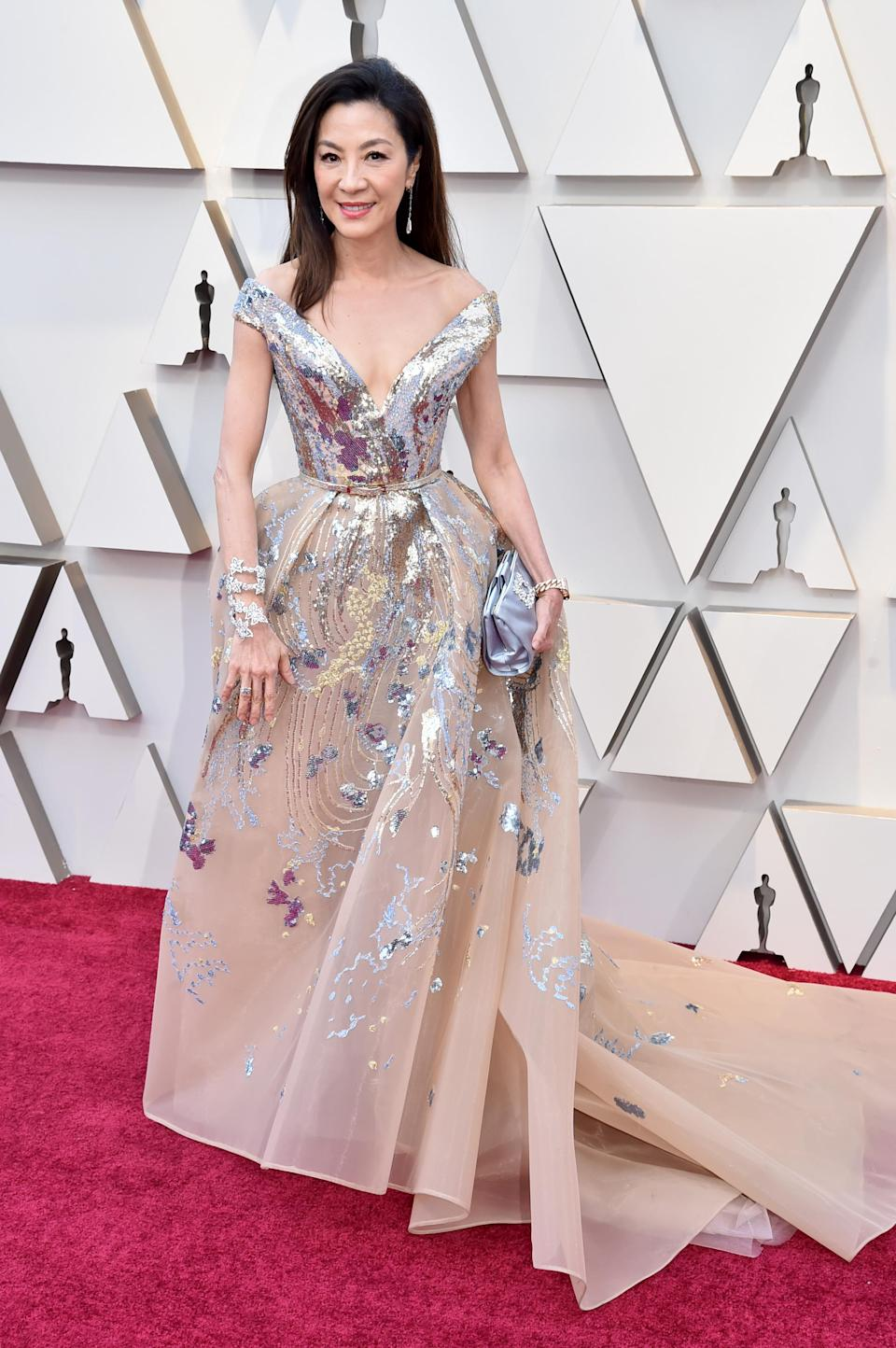 """<p>The """"Crazy Rich Asians"""" star looked regal in Elie Saab. (Image via Getty Images) </p>"""