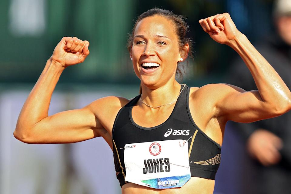 Lolo Jones reacts after qualifying for 2012 Olympics after coming in third in the women's 100 meter hurdles final during Day Two of the 2012 U.S. Olympic Track & Field Team Trials at Hayward Field on June 23, 2012 in Eugene, Oregon. (Photo by Christian Petersen/Getty Images)