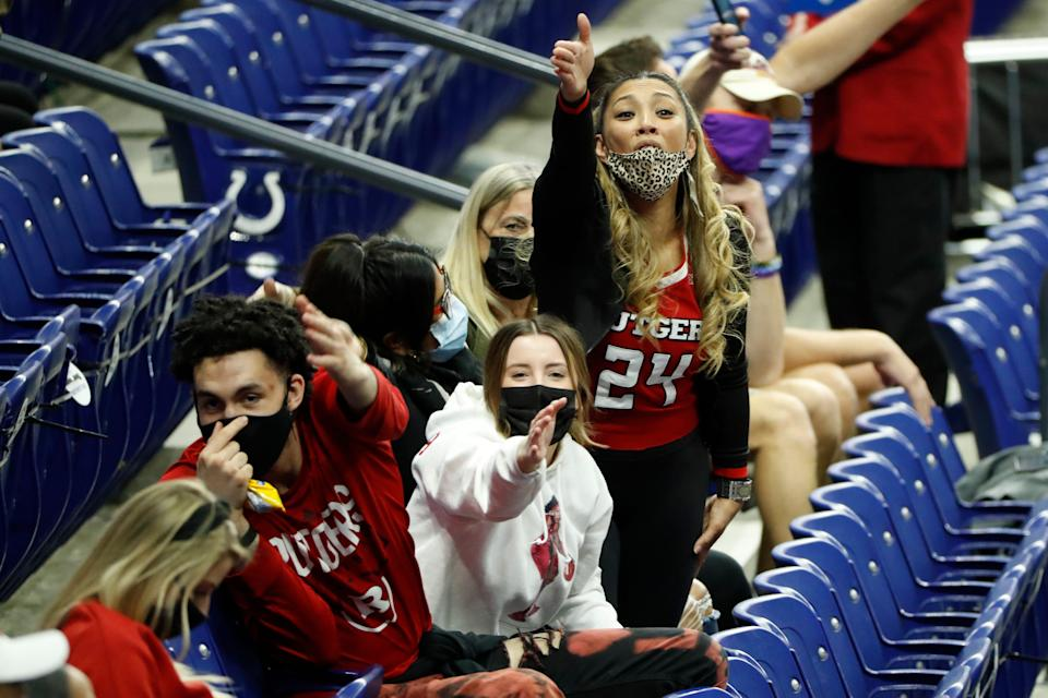 Rutgers fans cheer during the second half.