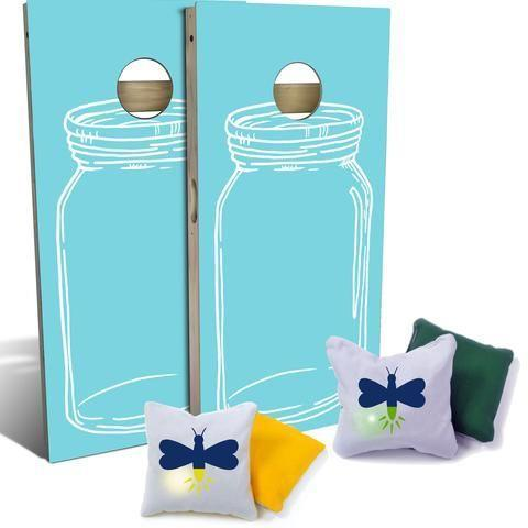 """<p>slickwoodys.com</p><p><strong>$210.00</strong></p><p><a href=""""https://www.slickwoodys.com/collections/country-living-cornhole/products/country-living-blue-mason-jar-cornhole-board-set-includes-8-light-up-firefly-bags"""" rel=""""nofollow noopener"""" target=""""_blank"""" data-ylk=""""slk:Shop Now"""" class=""""link rapid-noclick-resp"""">Shop Now</a></p><p>An update on the classic, the light-up bean bags will excite the whole family. </p>"""