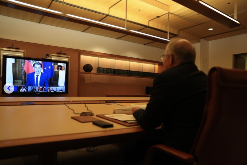 Pictured is Prime Minister Scot Morrison joining the video call on Thursday night. Source: Scott Morrison