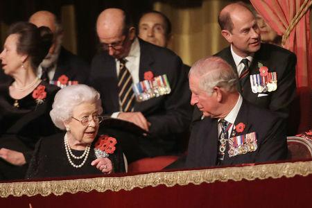 Britain's Queen Elizabeth II and Prince Charles, Prince of Wales attend the Royal British Legion Festival of Remembrance to commemorate all those who have lost their lives in conflicts and mark 100 years since the end of the First World War, at the Royal Albert Hall, London, Britain November 10, 2018. Chris Jackson/Pool via REUTERS