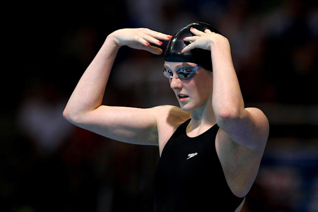 OMAHA, NE - JUNE 29: Missy Franklin prepares to swim in the second semifinal heat of the Women's 100 m Freestyleduring Day Five of the 2012 U.S. Olympic Swimming Team Trials at CenturyLink Center on June 29, 2012 in Omaha, Nebraska. (Photo by Al Bello/Getty Images)