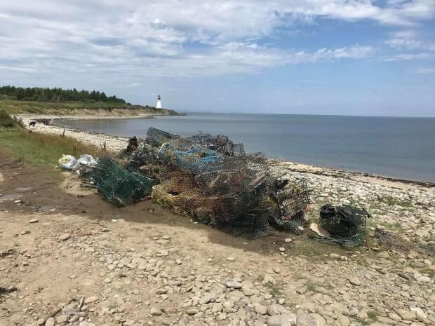 Over seven tons of abandoned lobster traps and other fishing gear were found over1,523 square kilometers in South West Nova Scotia. (Cape Breton Environmental Association - image credit)