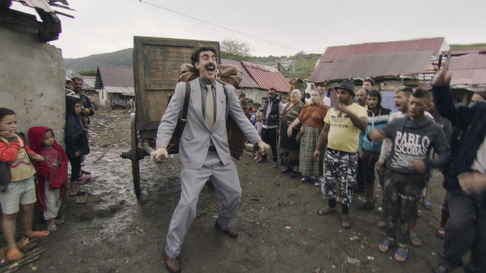 Sacha Baron Cohen returns to one of his famous comedy creations in 'Borat Subsequent Moviefilm'. (Credit: Amazon)