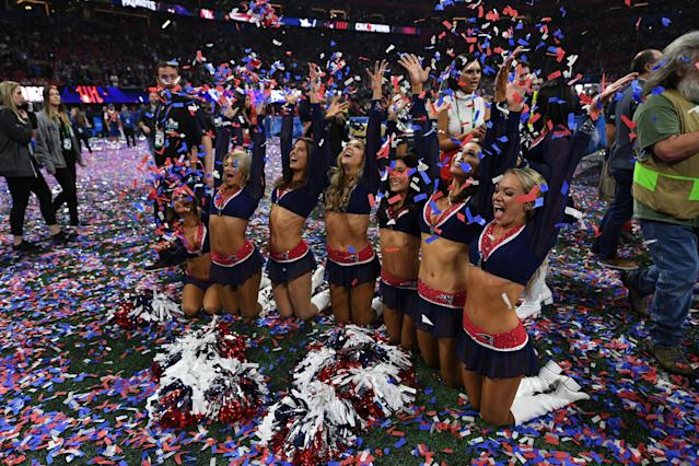 <p>New England Patriots cheerleaders celebrate after winning Super Bowl LIII against the Los Angeles Rams at Mercedes-Benz Stadium in Atlanta, Georgia, on February 3, 2019. (Photo by TIMOTHY A. CLARY / AFP) </p>