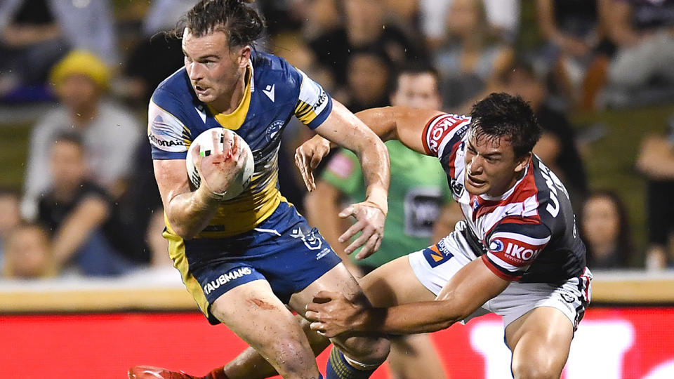 Clint Gutherson, pictured here in action for the Eels against the Roosters.