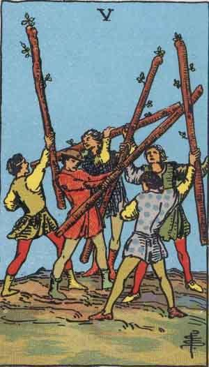 Five of Wands card. Photo: Wikimedia Commons
