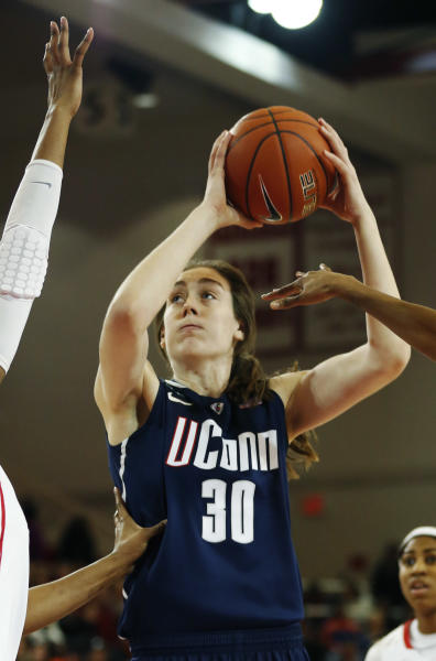Connecticut forward Breanna Stewart (30) shoots a basket during the first half of a NCAA college basketball game against St. John's, Saturday, Feb. 2, 2013, at St. John's University in New York. (AP Photo/John Minchillo)