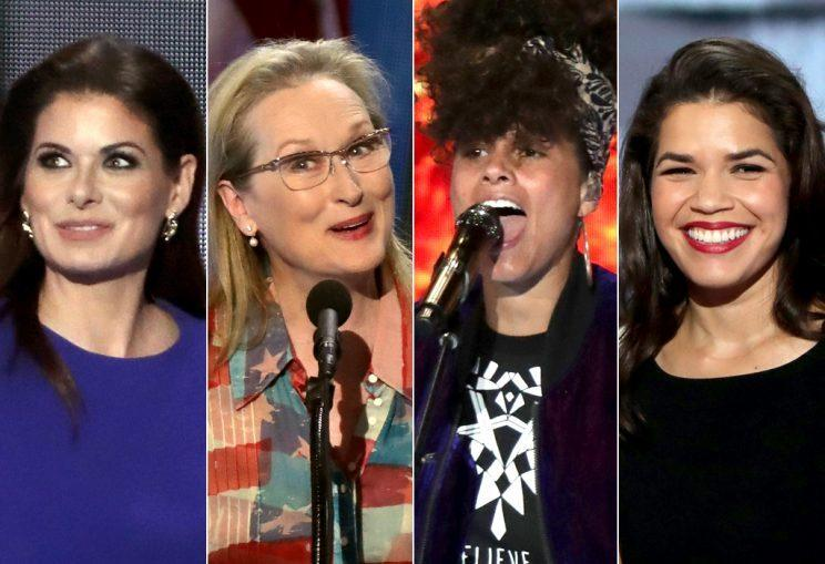 From left, Debra Messing, Meryl Streep, Alicia Keys, and America Ferrera were just a few of the celebs who took the stage at the DNC on Tuesday night. (Photo: Alex Wong/Getty Images)