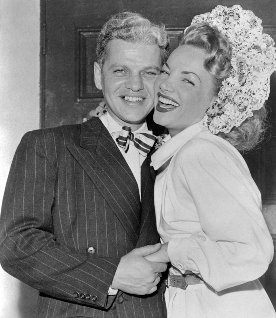 <p>Brazilian singer Carmen Miranda and her producer husband, David Alfred Sebastian, couldn't look happier leaving the Church of the Good Shepherd in Beverly Hills following their nuptials. </p>