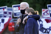 Democratic presidential candidate former Vice President Joe Biden and former President Barack Obama speak with people at Birmingham Unitarian Church in Bloomfield Hills, Mich., Saturday, Oct. 31, 2020, with granddaughter Maisy Biden. (AP Photo/Andrew Harnik)