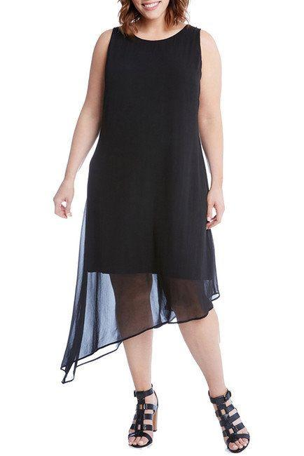 "From <a href=""https://www.nordstromrack.com/shop/product/2256728/karen-kane-asymmetrical-overlay-shift-dress-plus-size?color=BLK"" target=""_blank"">Nordstrom Rack</a>. Comes up to a size 3X."