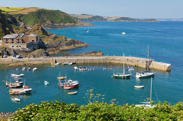 mevagissey harbour wall and...