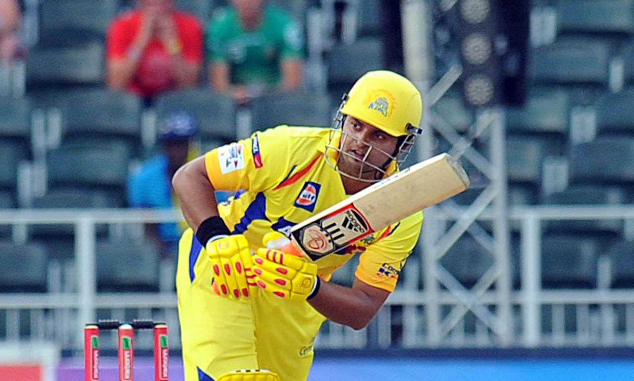 Chennai Super Kings batsman Suresh Raina in action during a Group B match of The Champions League T20 (CLT20) against Sydney Sixers at Wanderers Stadium in Johannesburg on October 14, 2012.  AFP PHOTO / ALEXANDER JOE
