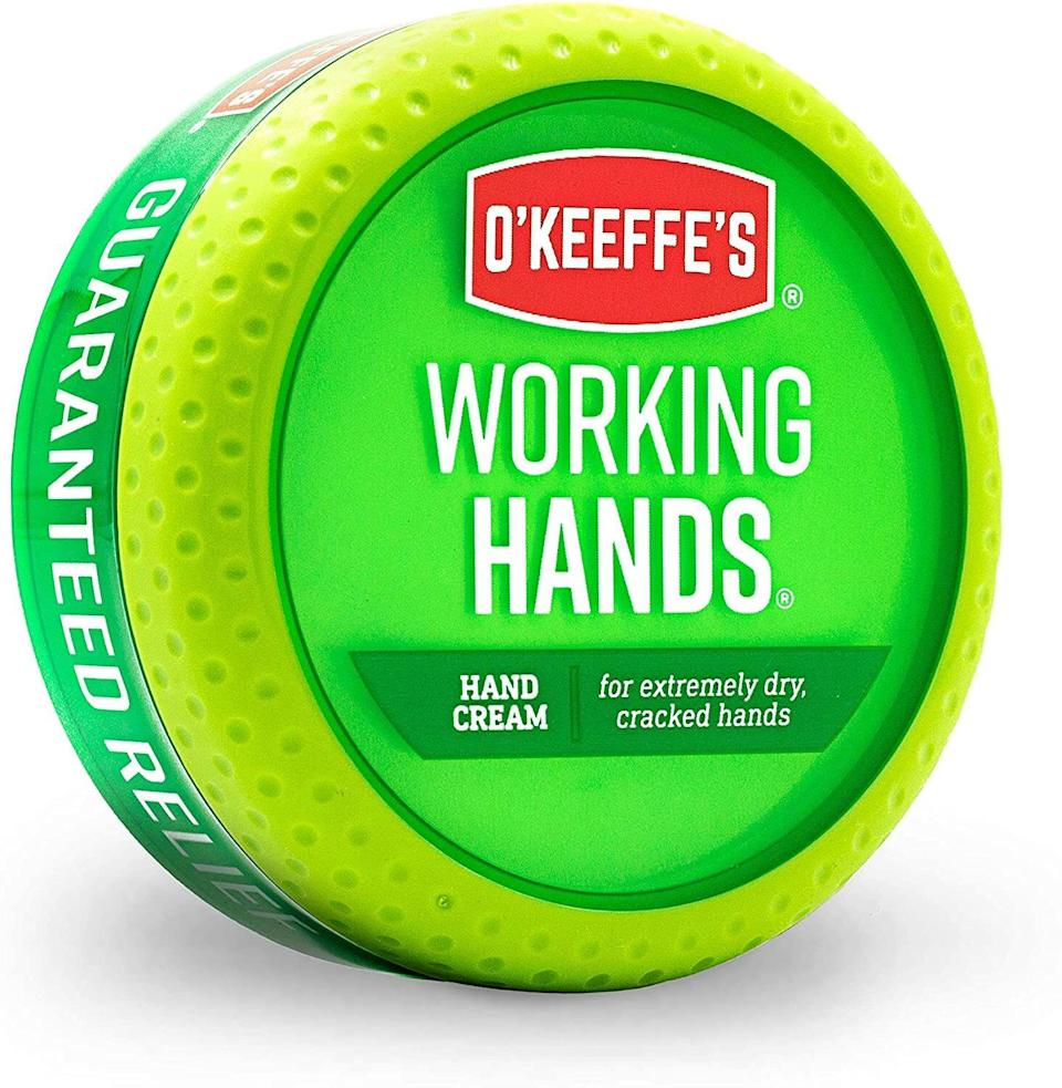 """Cracked skin is no match for this hand cream that'll lock in moisture and provide sweet, sweet relief to your dry hands.<br /><br /><strong>Promising review:</strong>""""My hands suffer every winter with not only dryness, but also cracking around the fingertips. I've tried many creams, lotions and paint on products that would work temporarily, if at all. I saw a commercial for O'Keeffe's Working Hands Cream and read many, many reviews on the the product.<strong>I've tried it and all I can say is that it's a miracle. The dryness has left my hands and my fingertips are well on the way towards healing.</strong>...and this is after only two days of use. I wish I had found it years ago. It would have saved me lots of pain, agony and money."""" —<a href=""""https://www.amazon.com/dp/B00121UVU0?tag=huffpost-bfsyndication-20&ascsubtag=5892167%2C9%2C50%2Cd%2C0%2C0%2C0%2C962%3A1%3B901%3A2%3B900%3A2%3B974%3A3%3B975%3A2%3B982%3A2%2C16502786%2C0"""" target=""""_blank"""" rel=""""nofollow noopener noreferrer"""" data-skimlinks-tracking=""""5892167"""" data-vars-affiliate=""""Amazon"""" data-vars-href=""""https://www.amazon.com/gp/customer-reviews/R13NL1YFOUBBDU?tag=bfemmalord-20&ascsubtag=5892167%2C9%2C50%2Cmobile_web%2C0%2C0%2C16502777"""" data-vars-keywords=""""cleaning,fast fashion,skincare"""" data-vars-link-id=""""16502777"""" data-vars-price="""""""" data-vars-product-id=""""20957444"""" data-vars-product-img="""""""" data-vars-product-title="""""""" data-vars-retailers=""""Amazon"""">Desert D.</a><br /><br /><strong>Get it from Amazon for <a href=""""https://www.amazon.com/dp/B00121UVU0?tag=huffpost-bfsyndication-20&ascsubtag=5892167%2C9%2C50%2Cd%2C0%2C0%2C0%2C962%3A1%3B901%3A2%3B900%3A2%3B974%3A3%3B975%3A2%3B982%3A2%2C16502786%2C0"""" target=""""_blank"""" rel=""""noopener noreferrer"""">$7.99+</a> (also available in two-packs and 12-packs).</strong>"""