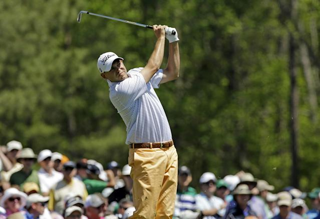 Bill Haas tees off on the 12th hole during the first round of the Masters golf tournament Thursday, April 10, 2014, in Augusta, Ga. (AP Photo/David J. Phillip)
