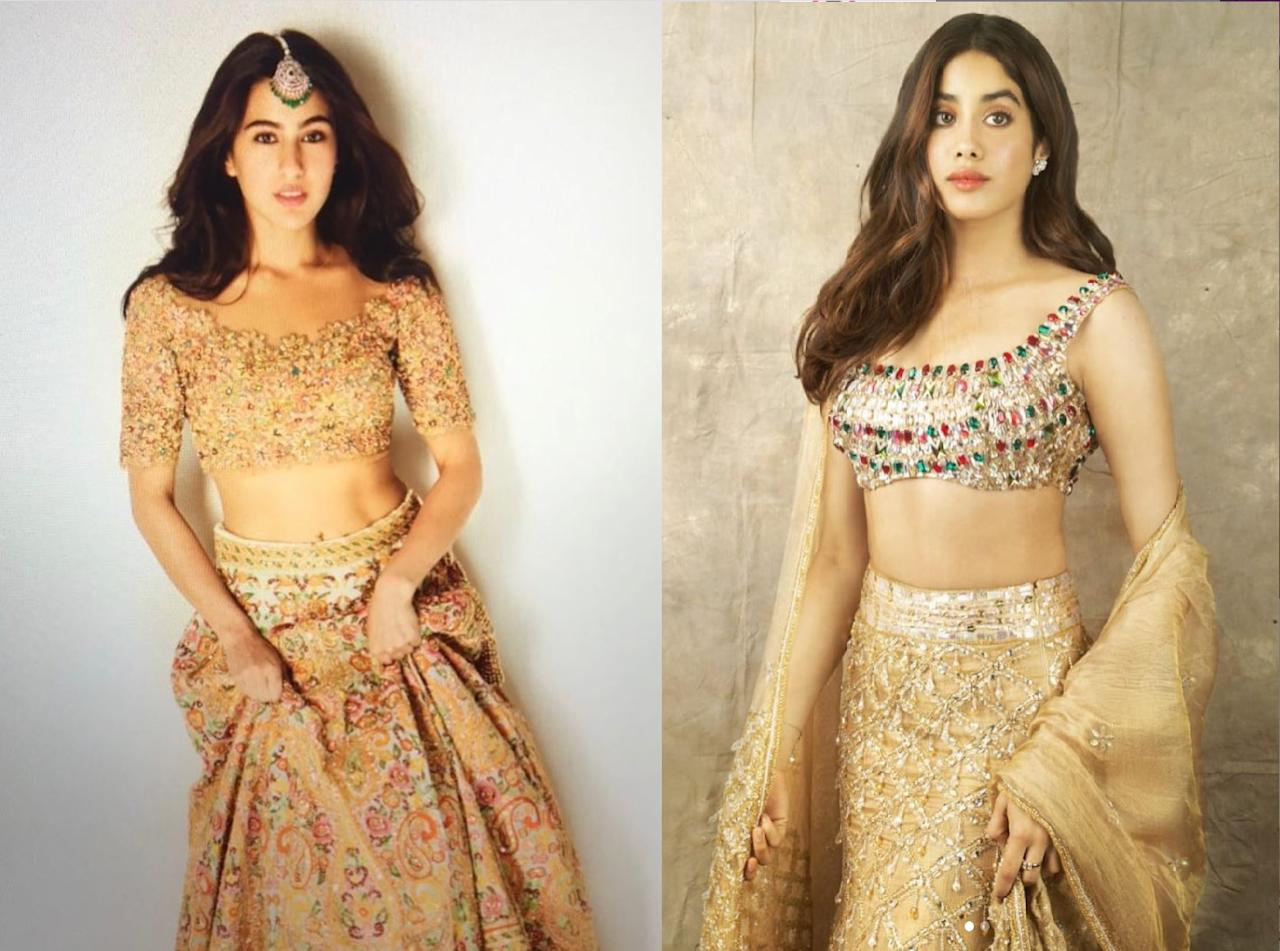 The Golden <em>lehenga </em>works like a magic spells on the Indian skin. The Pataudi girl reached for a heavily embroidered one for sending out Holi wishes to fans; and the Kapoor kid scintillated in this shimmery Manish Malhotra outfit. Sara picked a chunky <em>maangtika </em>to accessorize the look; Janhvi completed her look with a pair of studs instead.