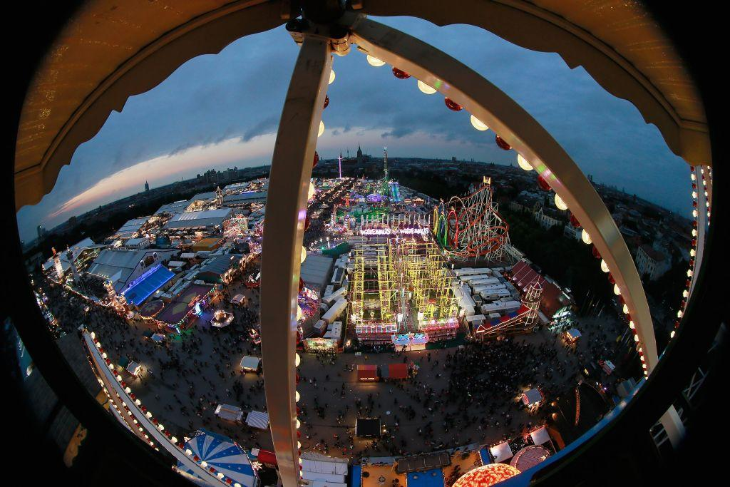 A view of the Oktoberfest beer festival, seen from the giant ferris wheel in the dusk of the first day on September 22.