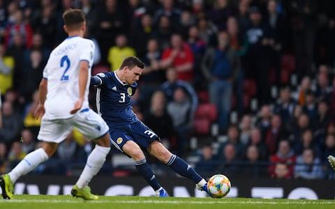 Andrew Robertson (R) of Scotland scores his team's first goal during the UEFA Euro 2020 Qualifier match between Scotland and Cyprus at Hampden Park on June 08, 2019 in Glasgow, Scotland - Credit: Getty Images