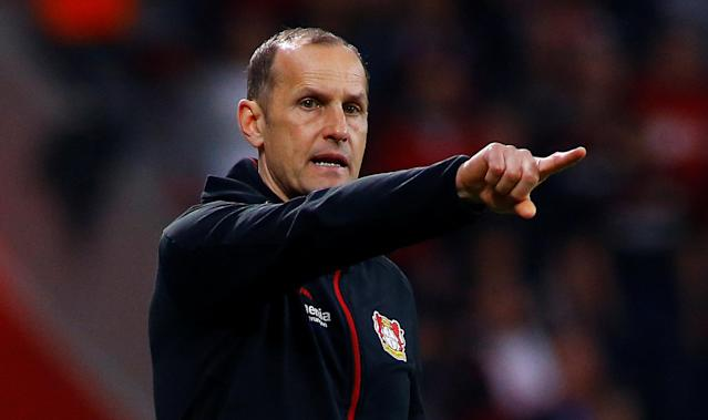 Soccer Football - DFB Cup - Bayer Leverkusen vs Bayern Munich - BayArena, Leverkusen, Germany - April 17, 2018 Bayer Leverkusen coach Heiko Herrlich REUTERS/Thilo Schmuelgen DFB RULES PROHIBIT USE IN MMS SERVICES VIA HANDHELD DEVICES UNTIL TWO HOURS AFTER A MATCH AND ANY USAGE ON INTERNET OR ONLINE MEDIA SIMULATING VIDEO FOOTAGE DURING THE MATCH.