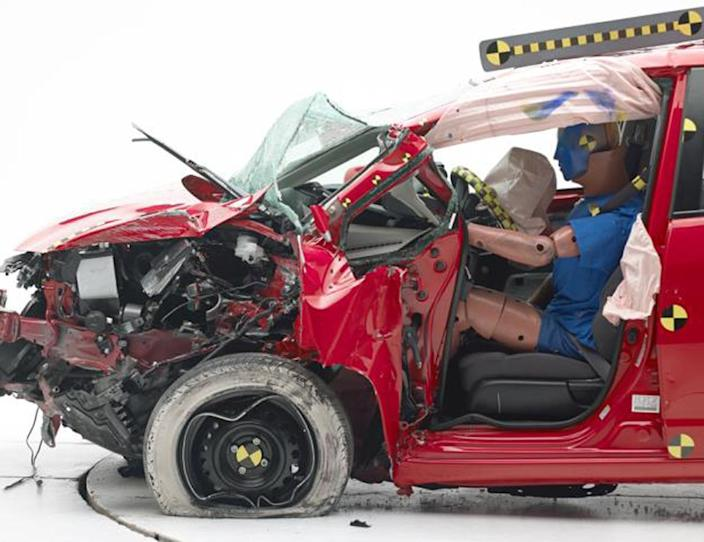This undated photo provided by the Insurance Institute for Highway Safety shows he Honda Fit during a crash test. The agency says the Fit and Fiat 500 were the worst performers of the 12 minicars tested in terms of potential injury to drivers. (AP Photo/Insurance Institute for Highway Safety)