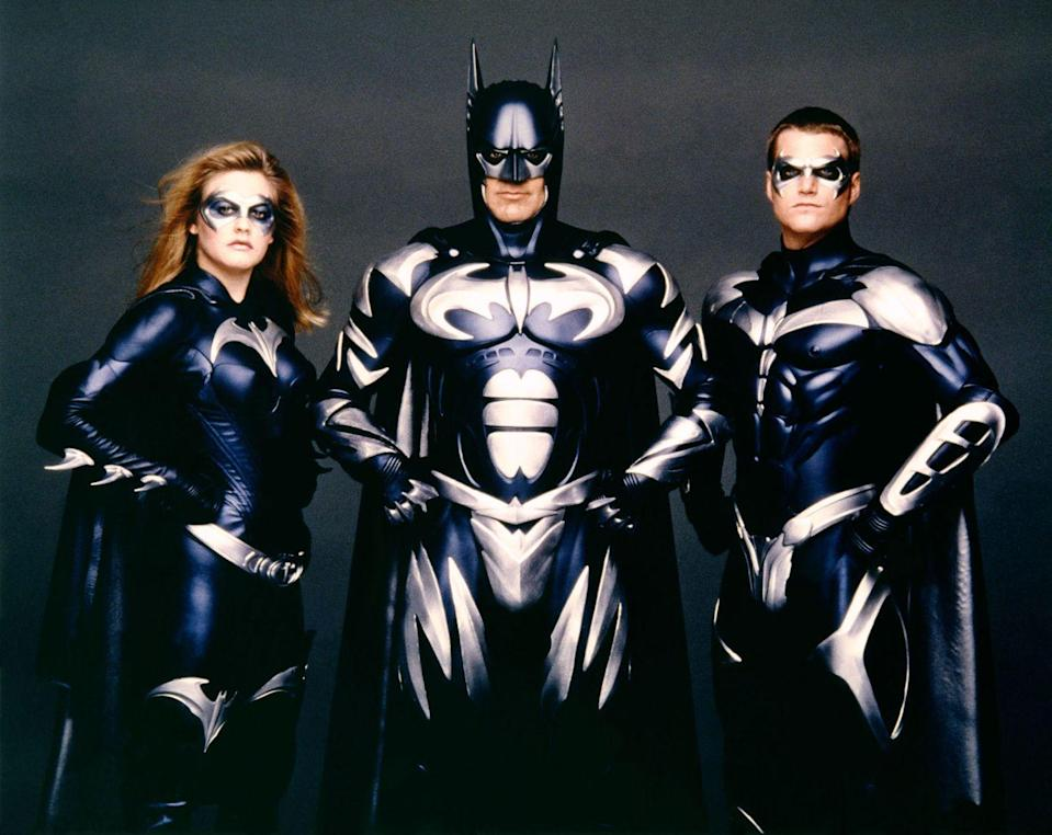 <p>Alicia Silverstone, Clooney and Chris O'Donnell on the set of <em>Batman & Robin</em>, directed by Joel Schumacher in 1997.</p>
