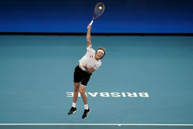 Alexander Zverev of Germany serves during his singles match against Denis Shapovalov of Canada during day 5 of the ATP Cup tennis tournament at Pat Rafter Arena in Brisbane