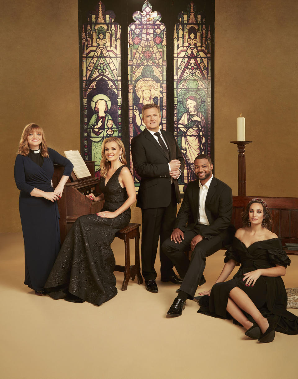 Songs of Praise: L-R - Rev. Kate Bottley, Katherine Jenkins, Aled Jones, JB Gill, Laura Wright (Avanti/Nine Lives Media/Jay Brooks)