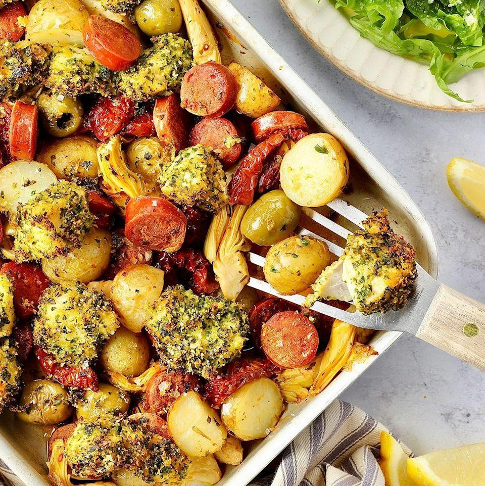 """<p>This easy chorizo and cod <a href=""""https://www.delish.com/uk/cooking/recipes/a33619206/mediterranean-salmon-traybake/"""" rel=""""nofollow noopener"""" target=""""_blank"""" data-ylk=""""slk:traybake"""" class=""""link rapid-noclick-resp"""">traybake</a> is so delicious. The added extra step of the herb crumb is crucial in my opinion. Dipped into the <a href=""""https://www.delish.com/uk/cooking/recipes/a31730668/chorizo-bolognese-pasta-recipe/"""" rel=""""nofollow noopener"""" target=""""_blank"""" data-ylk=""""slk:chorizo"""" class=""""link rapid-noclick-resp"""">chorizo</a> oil gives this cod an added layer of deliciousness. </p><p>Get the <a href=""""https://www.delish.com/uk/cooking/recipes/a37078222/chorizo-cod-traybake/"""" rel=""""nofollow noopener"""" target=""""_blank"""" data-ylk=""""slk:Chorizo & Cod Traybake"""" class=""""link rapid-noclick-resp"""">Chorizo & Cod Traybake</a> recipe.</p>"""