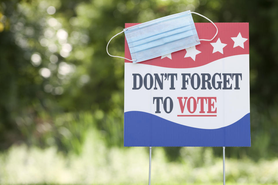 Presidential Election - Don't Forget to Vote signage with a protective face mask in front of a grassy field.