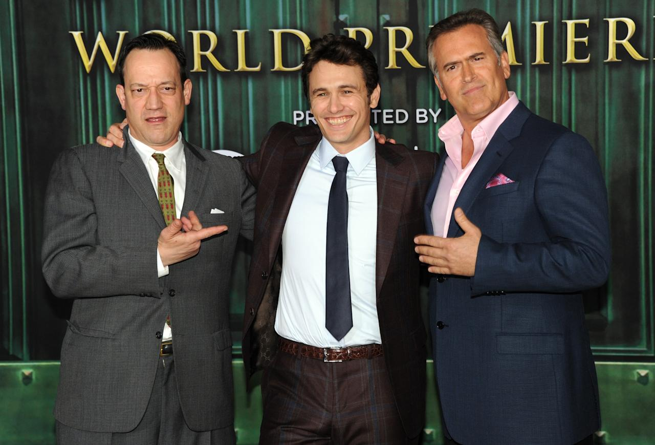 """HOLLYWOOD, CA - FEBRUARY 13:  (L-R) Actors Ted Raimi, James Franco and Bruce Campbell attend the world premiere of Walt Disney Pictures' """"Oz The Great And Powerful"""" at the El Capitan Theatre on February 13, 2013 in Hollywood, California.  (Photo by Kevin Winter/Getty Images)"""