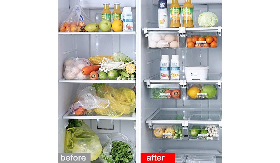 Shopwithgreen 2 Pack Refrigerator Organizer Bins with Handle