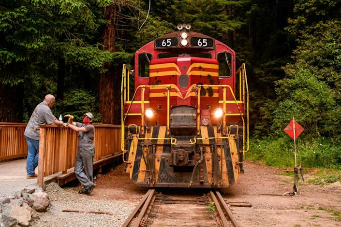 The engine of the Skunk Train on the tracks