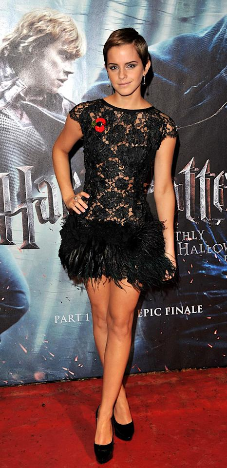 "2010  <a href=""http://movies.yahoo.com/movie/1810004780/info"">Harry Potter and the Deathly Hallows - Part 1</a> London premiere   For the penultimate Harry Potter premiere Emma looks stunning in this Rafael Lopez feathered mini, complimented by Charlotte Olympia pumps and her newly pixie cut hair."