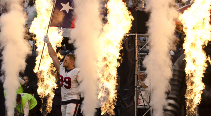 J.J. Watt and the Texans couldn't match their fiery intro once the game started against the Jaguars. (AP)
