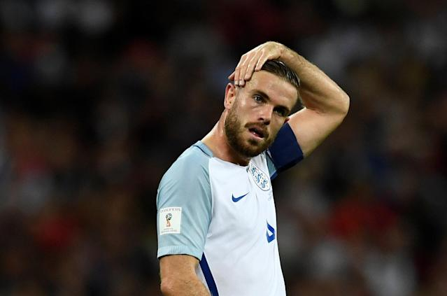 <p>Soccer Football – 2018 World Cup Qualifications – Europe – England vs Slovakia – London, Britain – September 4, 2017 England's Jordan Henderson REUTERS/Dylan Martinez </p>