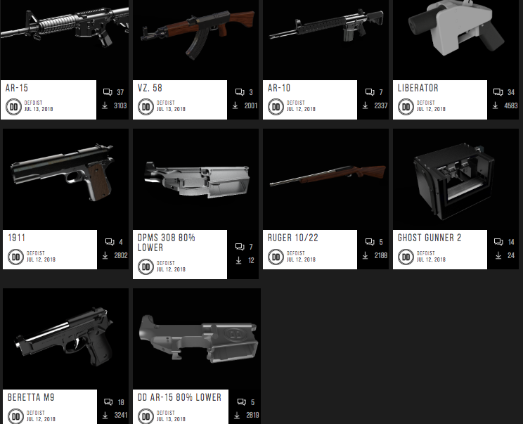 A screenshot of the Defense Distributed website offering downloadable blueprints for 3D-printed guns. (Defense Distributed)