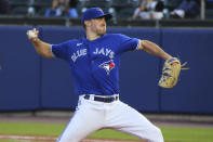 Toronto Blue Jays starting pitcher Ross Stripling throws to a New York Yankees batter during the fifth inning of a baseball game Wednesday, June 16, 2021, in Buffalo, N.Y. (AP Photo/Jeffrey T. Barnes)