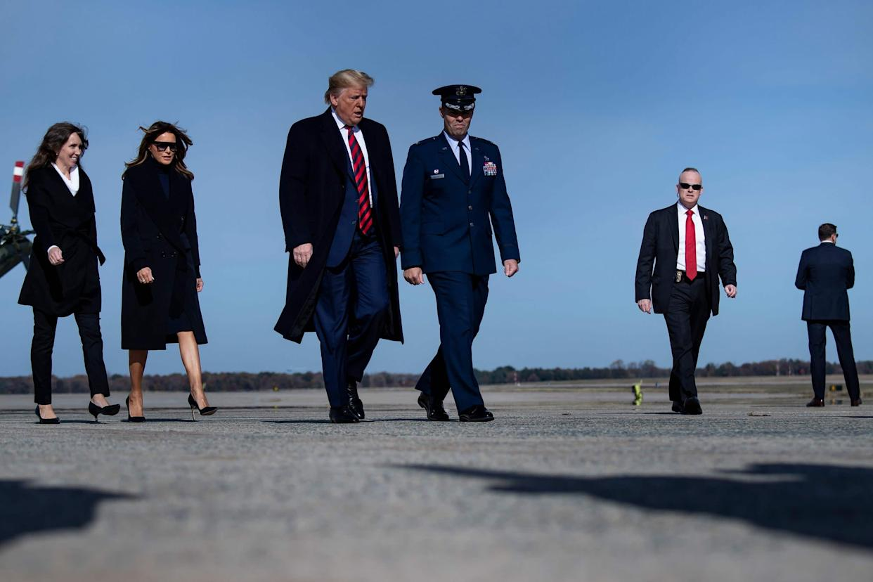 President Donald Trump and first lady Melania Trump at Andrews Air Force base in Maryland: AFP via Getty Images