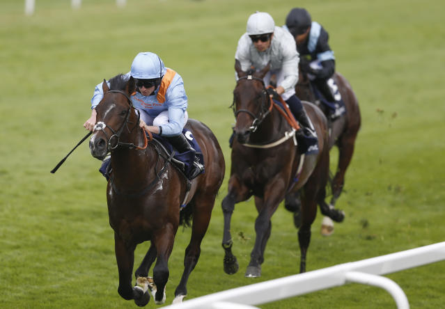 Britain Horse Racing - Derby Festival - Epsom Racecourse - June 2, 2017 Ryan Moore on De Bruyne Horse wins the 2.00 Investec Woodcote Stakes Action Images via Reuters / Matthew Childs Livepic EDITORIAL USE ONLY.