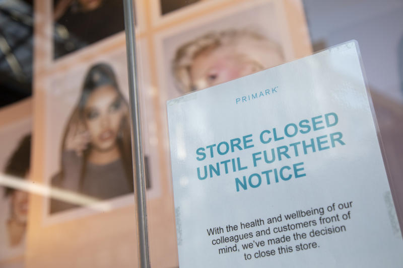 Sign in the wondow of closed down shop Primark on Oxford Street, London's main shopping and retail area normally full of thousands of shoppers and traffic is virtually deserted due to the Coronavirus outbreak on 23rd March 2020 in London, England, United Kingdom. Following government advice most shoppers are staying at home leaving the streets quiet, empty and eerie. Coronavirus or Covid-19 is a new respiratory illness that has not previously been seen in humans. While much or Europe has been placed into lockdown, the UK government has announced more stringent rules as part of their long term strategy, and in particular 'social distancing'. (photo by Mike Kemp/In PIctures via Getty Images)