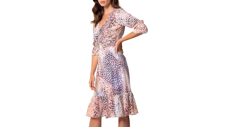 Sosandar Ombre Animal Print Fit And Flare Dress