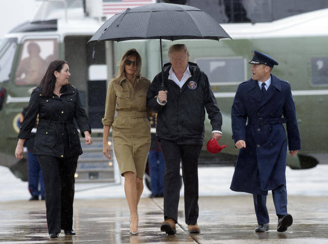 <p>President Donald Trump and first lady Melania Trump walk towards Air Force One at Andrews Air Force Base in Md., Saturday, Sept. 2, 2017. (Photo: Susan Walsh/AP) </p>