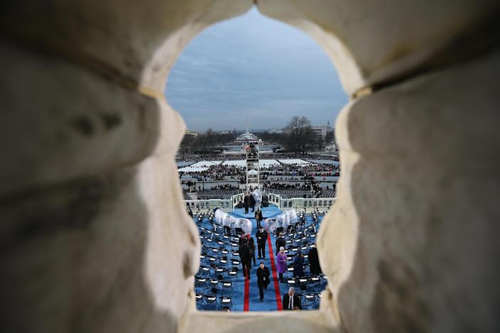 <p>The view from the inaugural stand on Capitol Hill looking toward the Washington Monument in Washington, Friday, Jan. 20, 2017, prior to the start of the 58th presidential inauguration. (Photo: Daniel Acker via AP, Pool) </p>